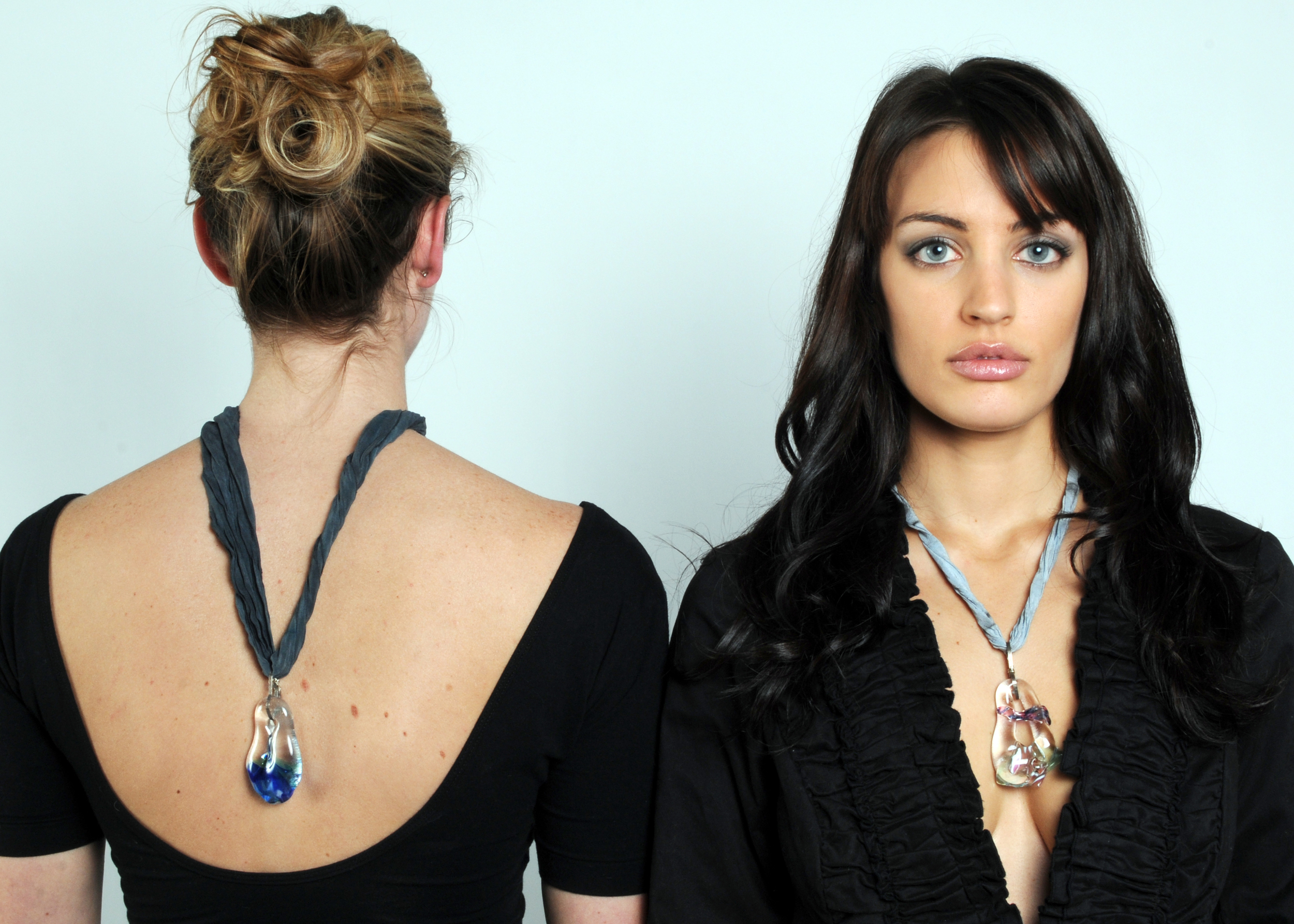 Fused glass pendants, ss, on silk shibori cords $225.00 each