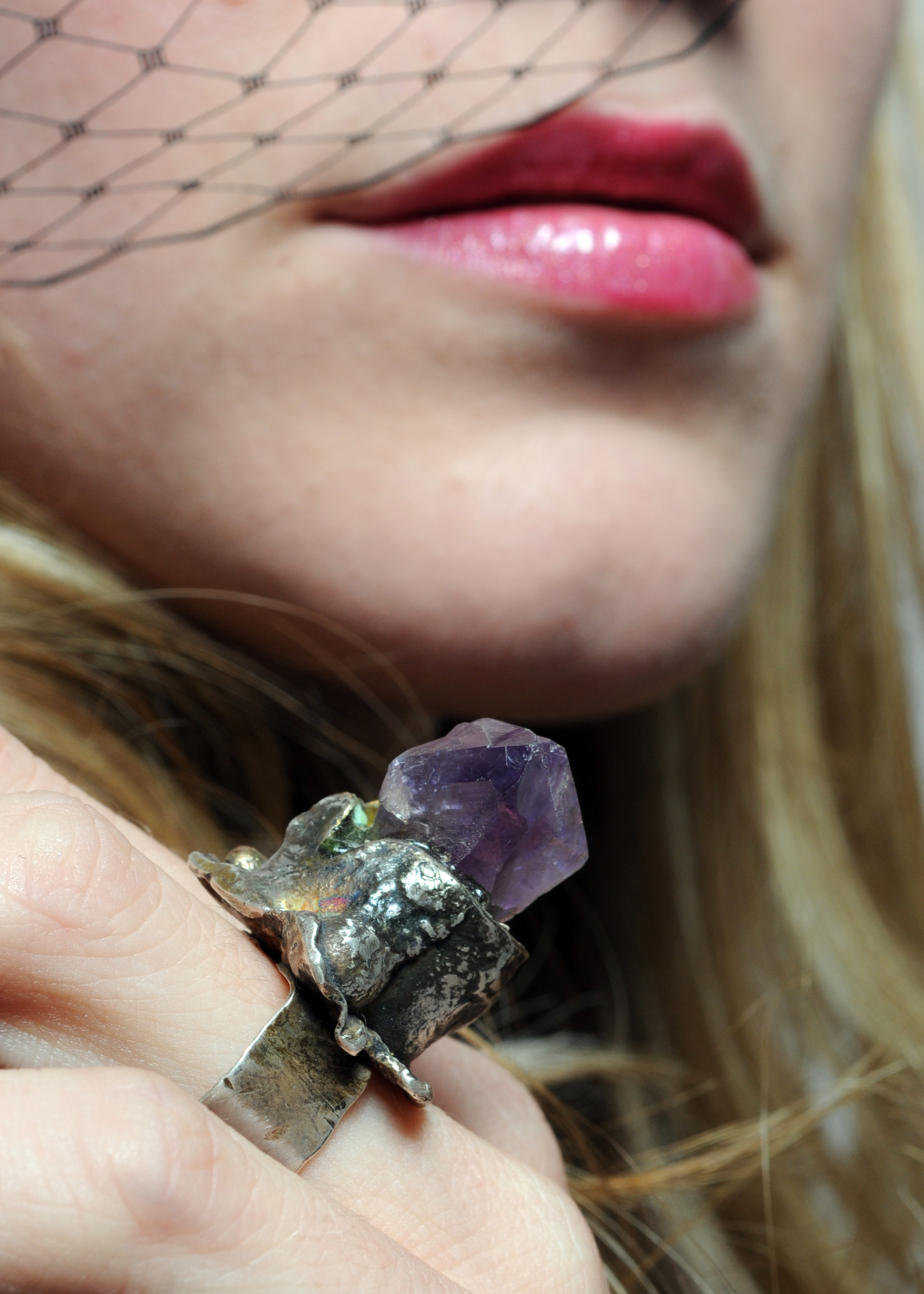Ring- ss. 18k gold, 14k gold, amethyst point   NFS