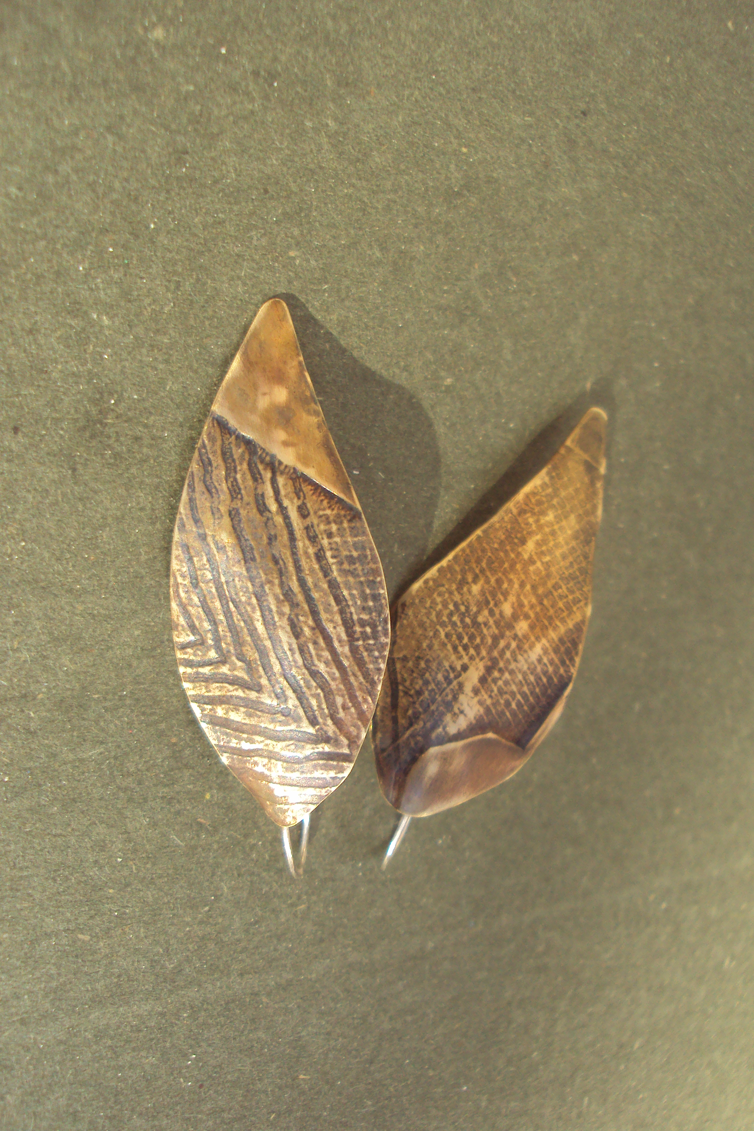 Earrings, etched copper leaves  SOLD