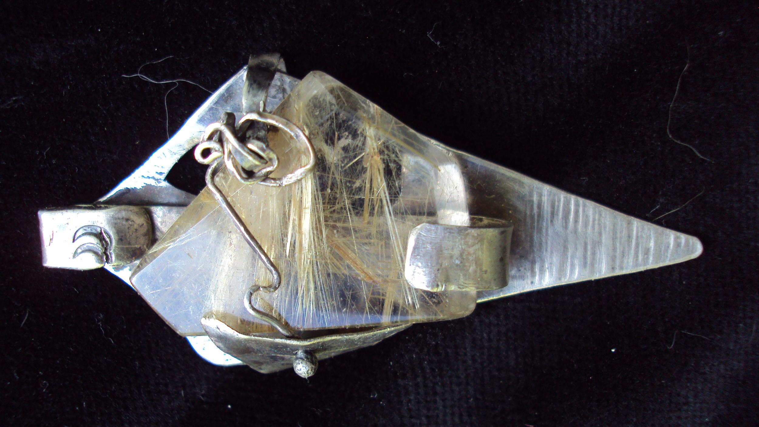 Pendant- ss, large rutilated quartz $320