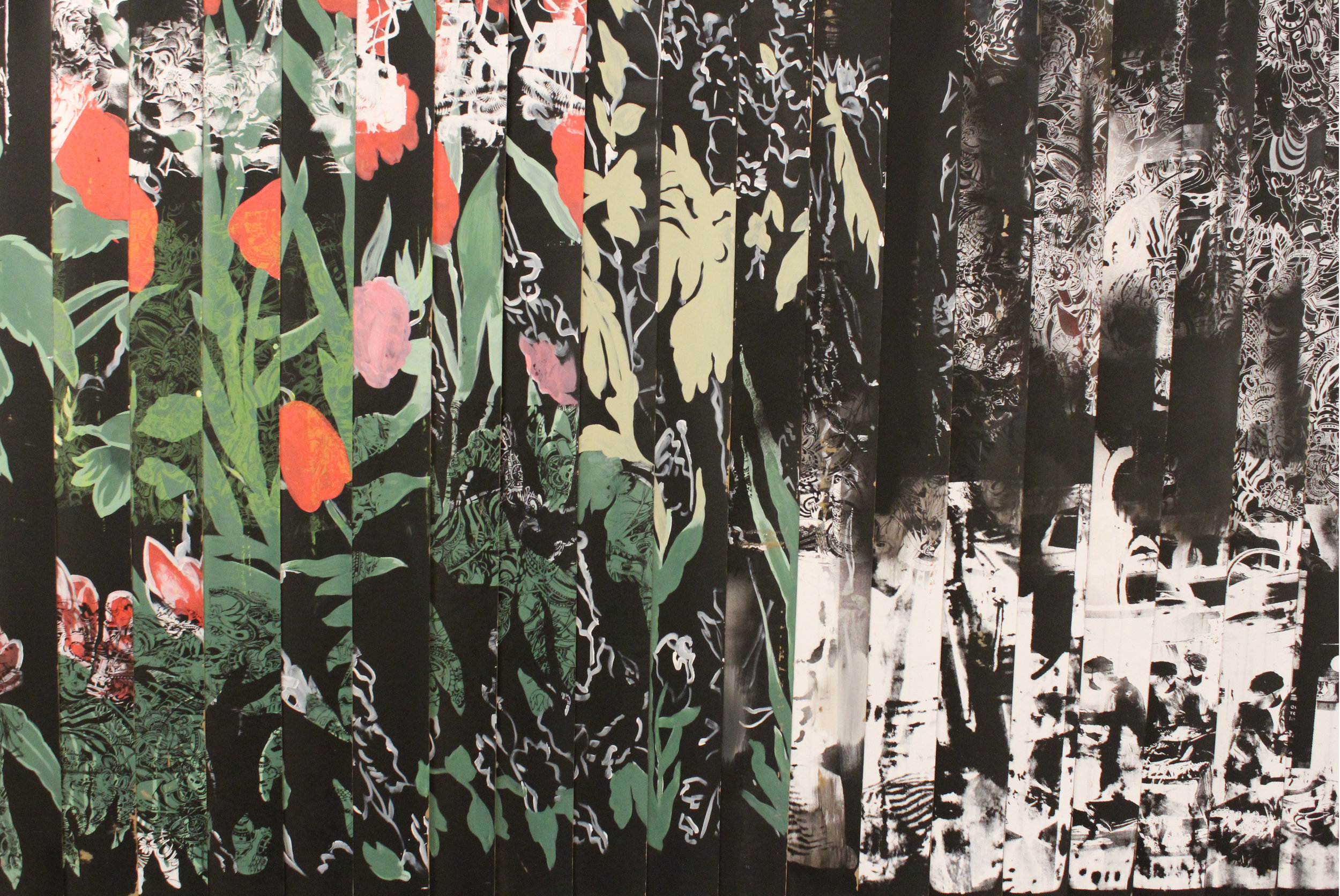 "2015  Acrylic, Spray-paint, Screen-print on Plastic Blinds  7"" x 8"""