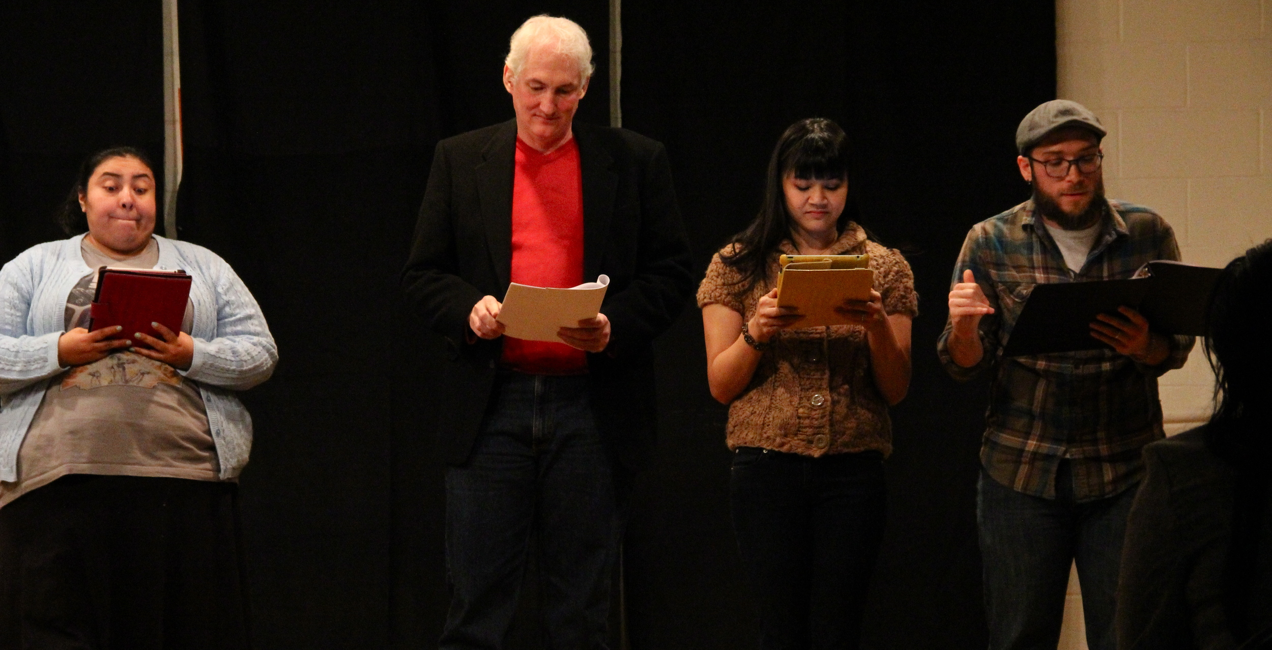 The crew of Denton Performance Lab reads a humorous piece about meeting a significant other's family.