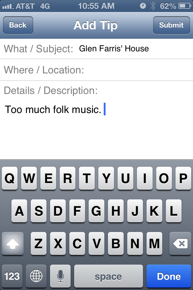 Adding a tip in the Denton Police Department's app is super easy.