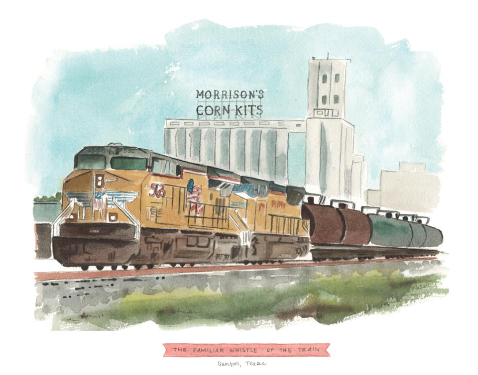 The talented Mandy Cave will have a few Denton-centric watercolors available