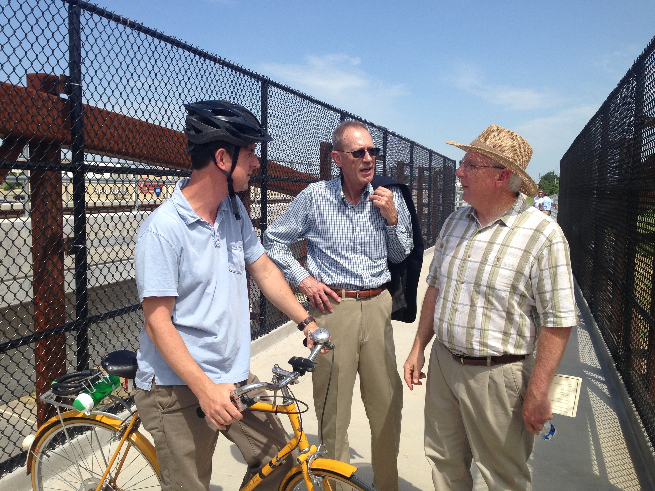 A few of our favorite city councilmen chatting on the new bridge