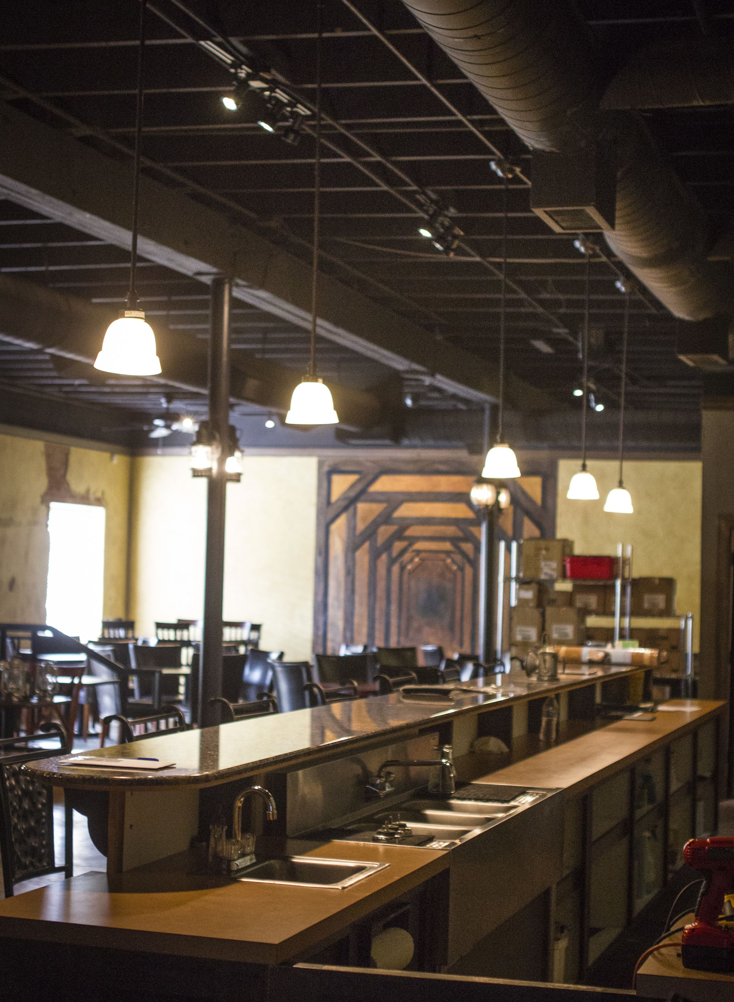 A peek inside the forthcoming Goldmine BBQ in the old Vigne space on Hickory St.