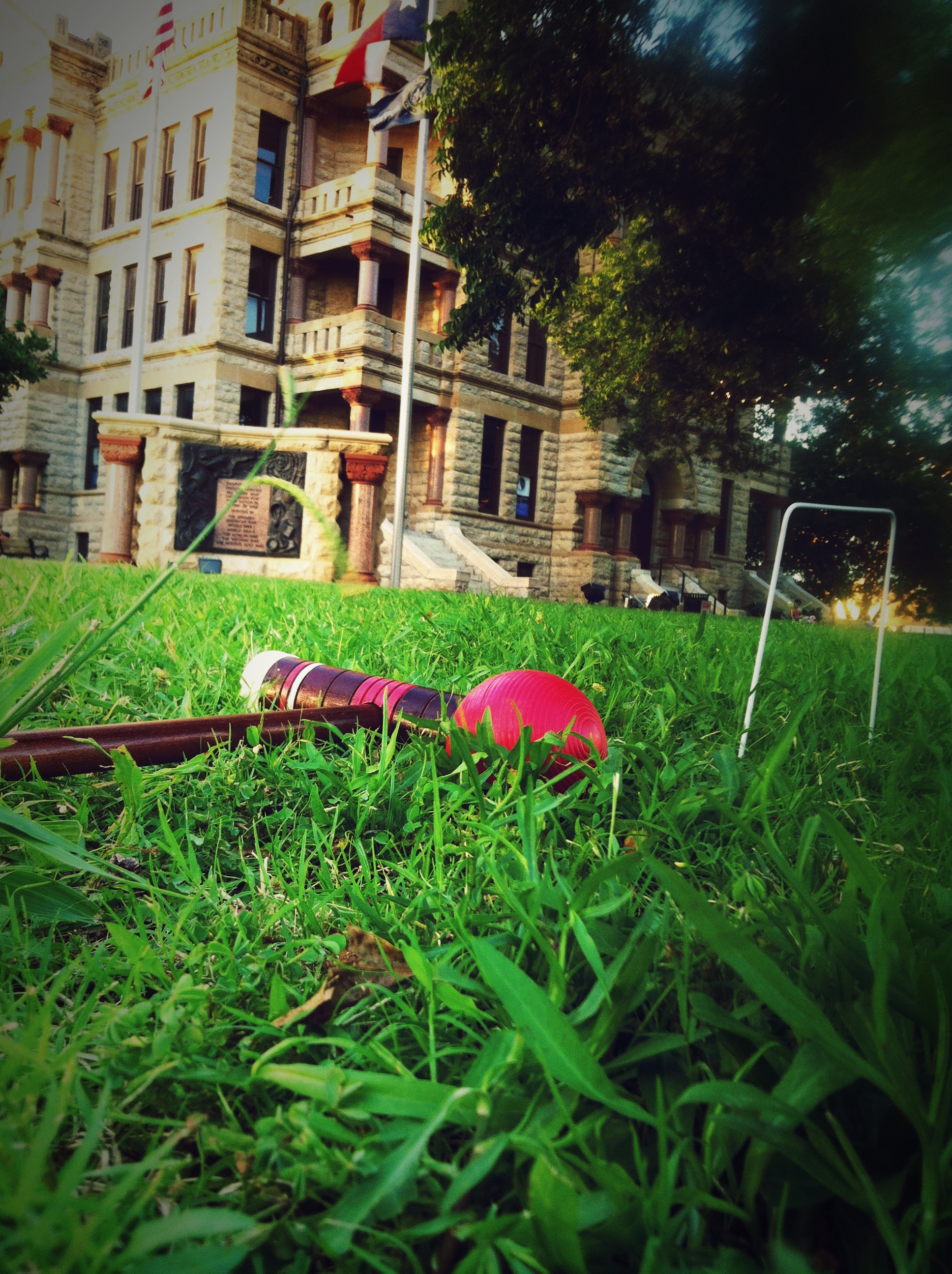 Croquet + a bottle of Prosecco = Crosseco on the square. Pronunciation still undecided.