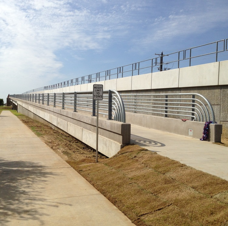 The new pedestrian bridge over Loop 288 opened up in June.