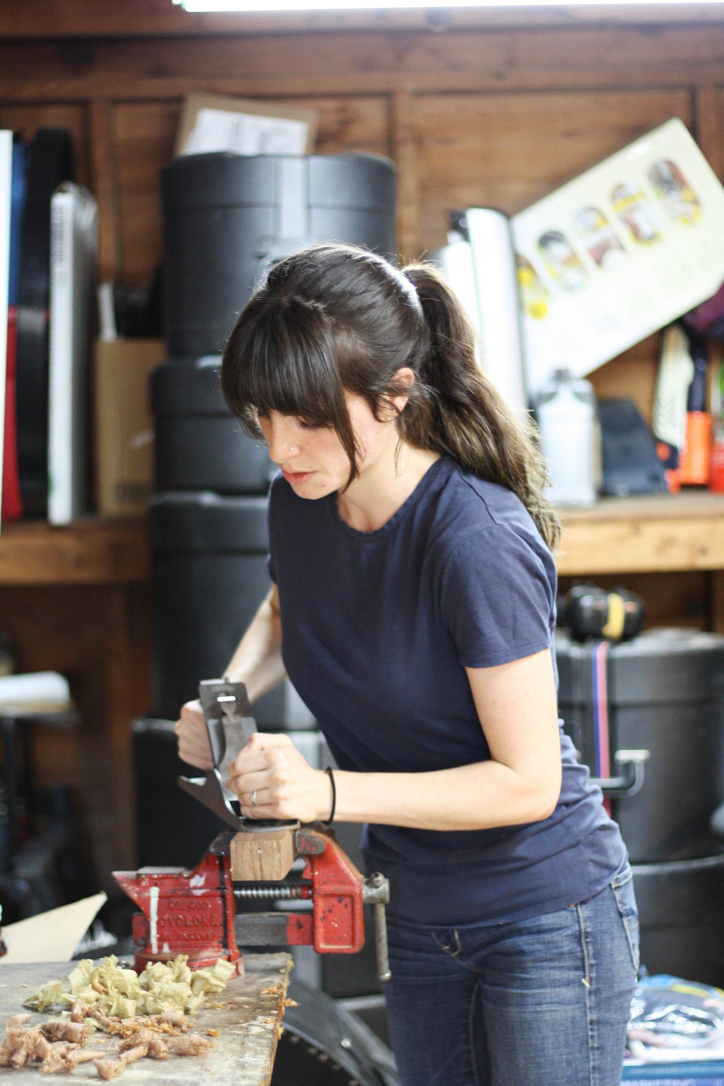 We spent a little bit of time poking around Mandy Hampton's workshop while she showed off her wood-working skills.