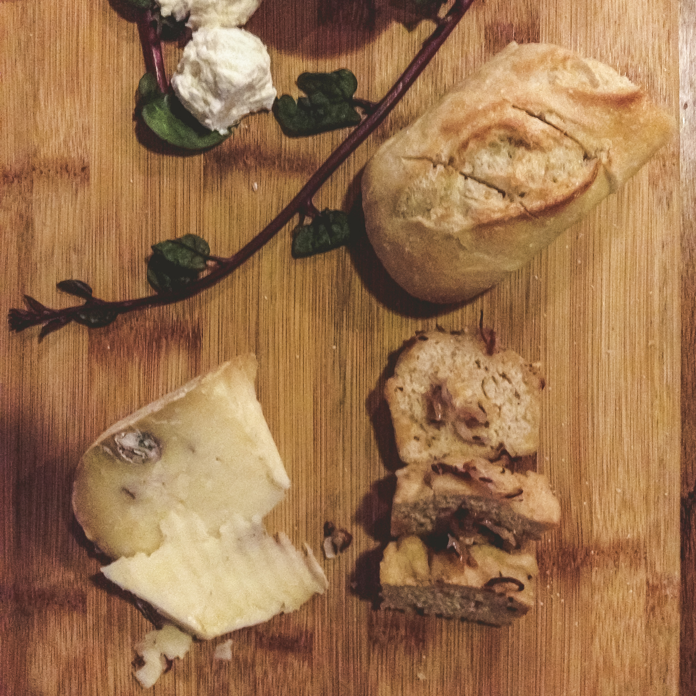 Cheese boards from full of local cheeses from Hannah's always make us happy. This one is filled with local goat cheese, a pecan horseradish cheese and plenty of beer bread.
