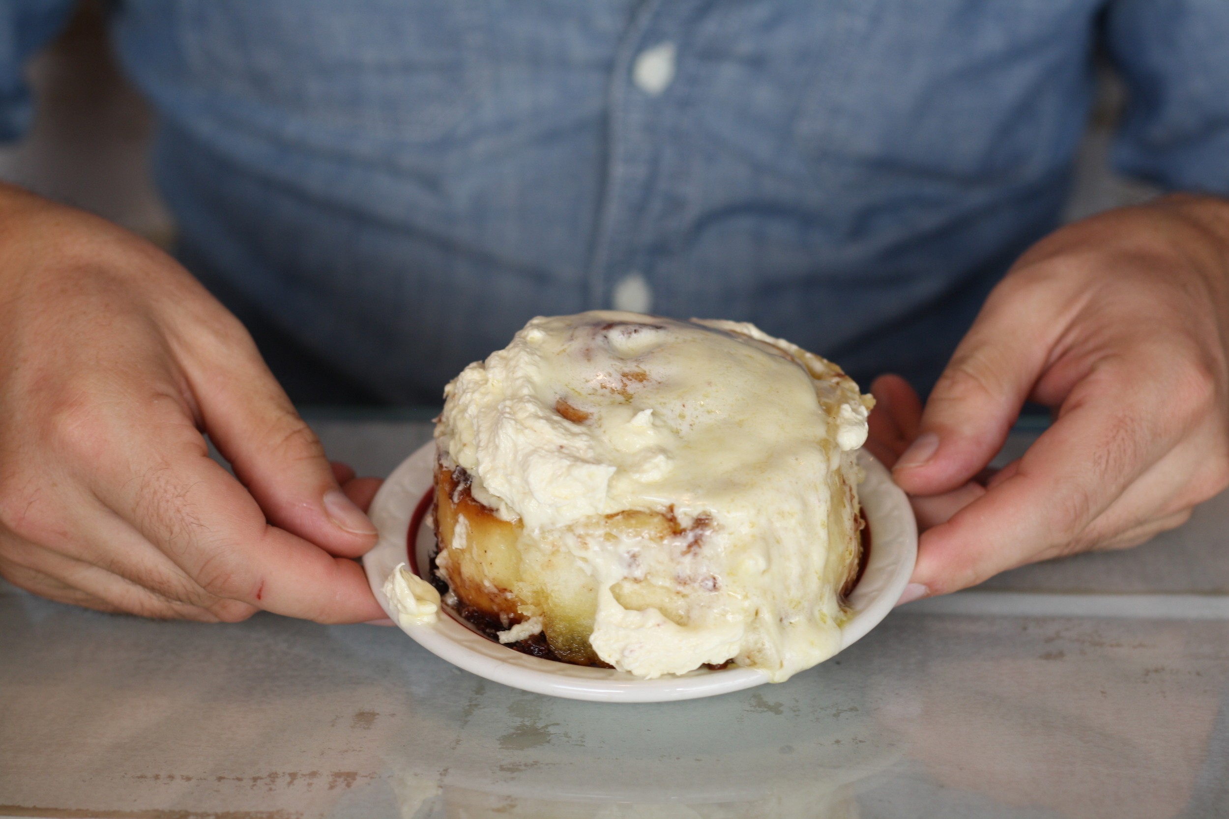 Breakfast of champions - Joey's cinnamon rolls at Royal's Bagels. Perfect for kicking off a Saturday morning.