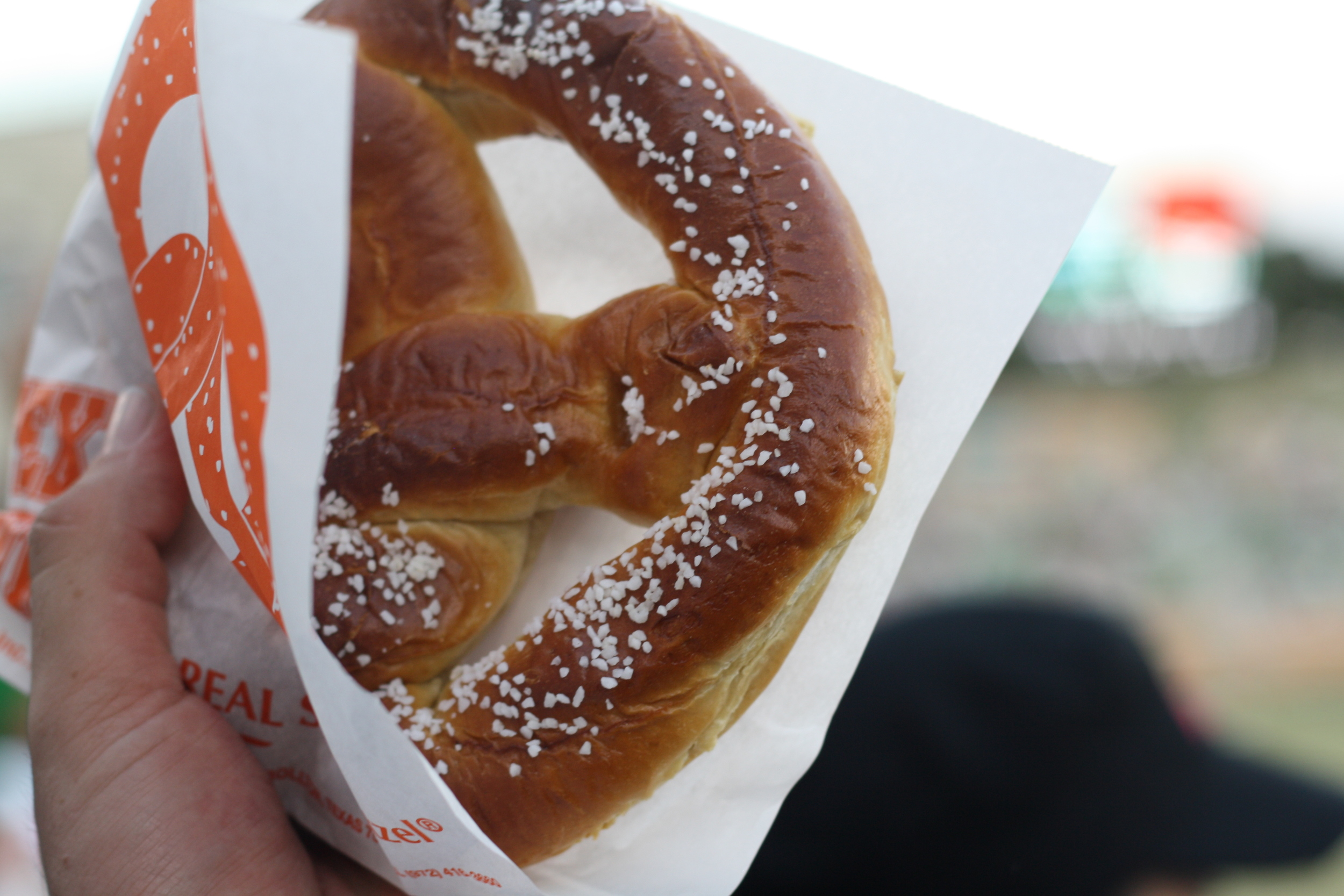 A football game is the perfect time to partake in a big giant pretzel.