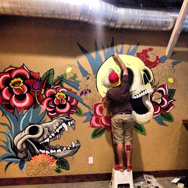 Mulberry Street Cantina  worked on beautifying a wall in their bar with this awesome mural. We can't wait to see the finished product.