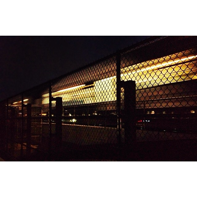 """We checked out Loop 288's pedestrian bridge at night. Still a fun walk, but could definitely use some additional lighting up there. The current ambiance is very """"mugging friendly."""""""