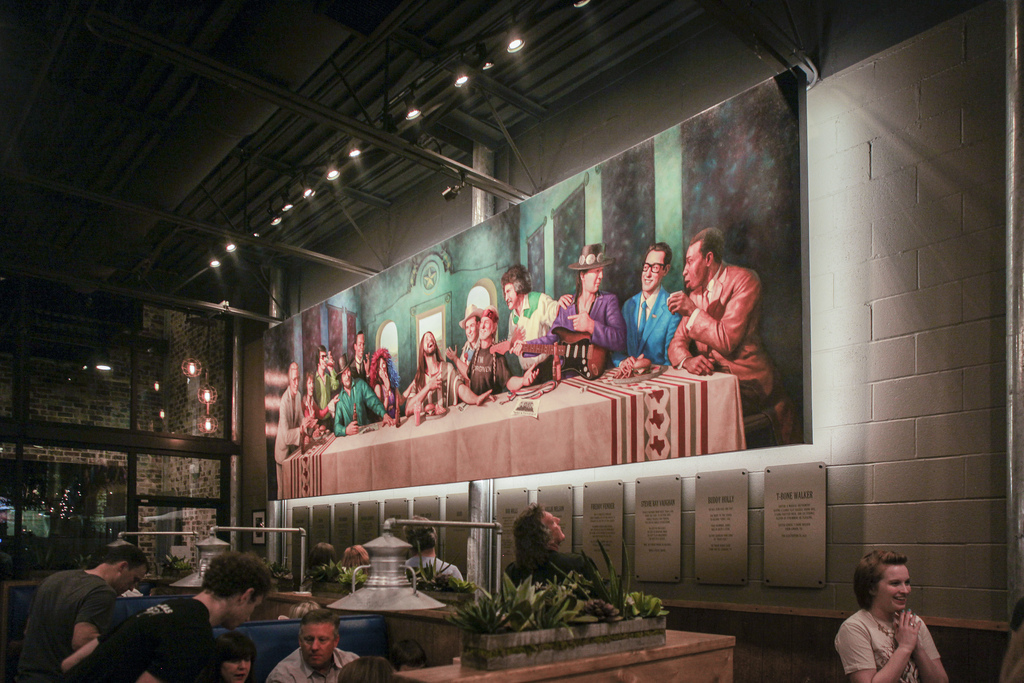 The Last Supper - but with all Texas musicians. We love that the owners have made sure every corner is full of Texas charm and is as creative as Denton itself.