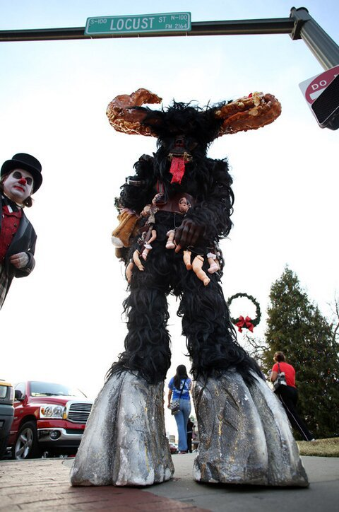 Seeing these characters prowling the Denton Square may make you rethink Christmas.
