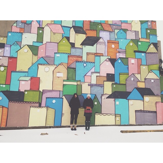 Taylor Bunch  and Stephanie Smith ventured out to one of our favorite murals on ice day # 1.