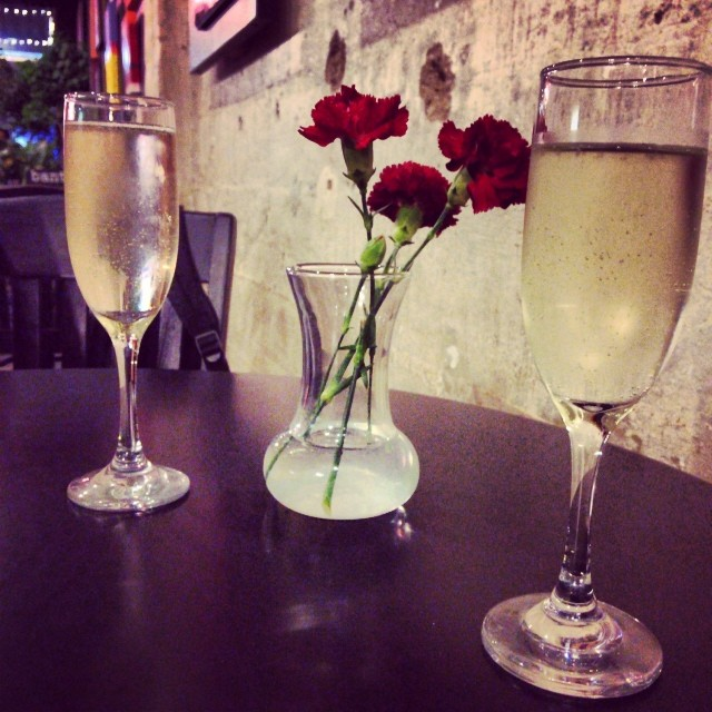 White wine and roses at Banter. Photo by  @autumnlynn10 .