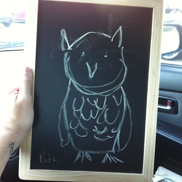 Peter Cuomo  drew an awesome owl on a chalkboard for reasons unknown.