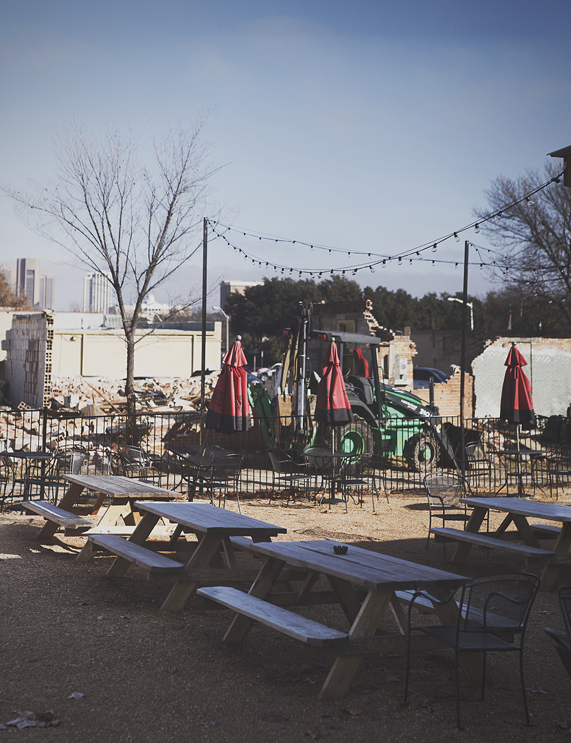 The building beside East Side Social Club that was scheduled to be demolished was torn down this past weekend. This is currently the view at ESSC. Soon it will be an excellent food truck park.