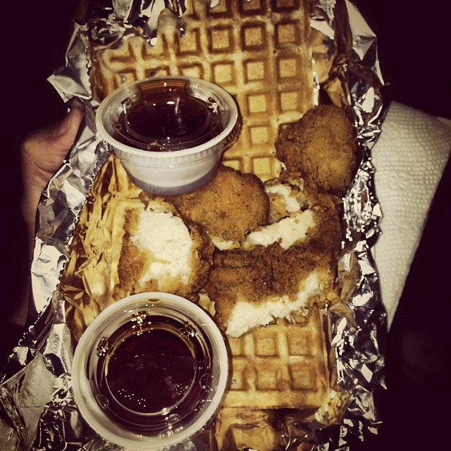 The obligatory chicken and waffles special from The Waffle Wagon. Photo by  Andy Odum  .