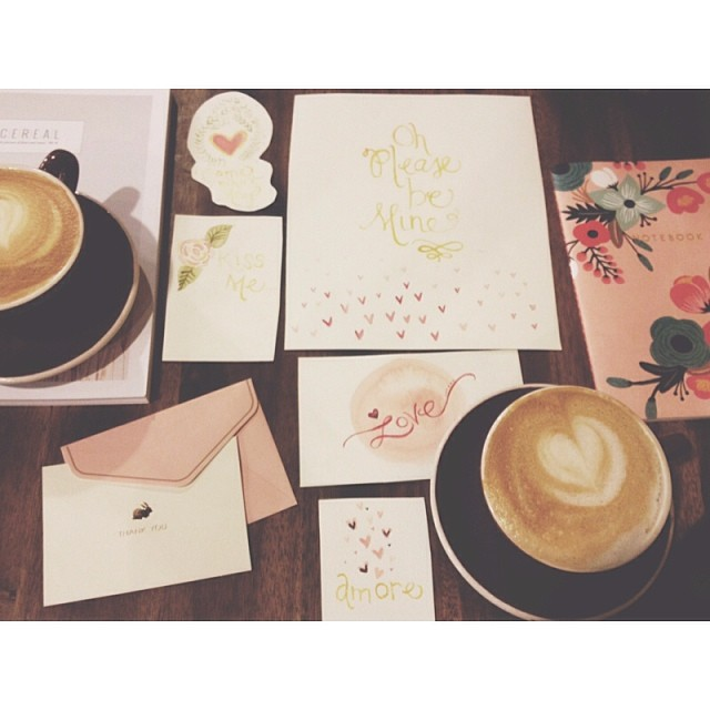 Handmade Valentine's cards and cappucinos. Photo by  Jade Wintersee.