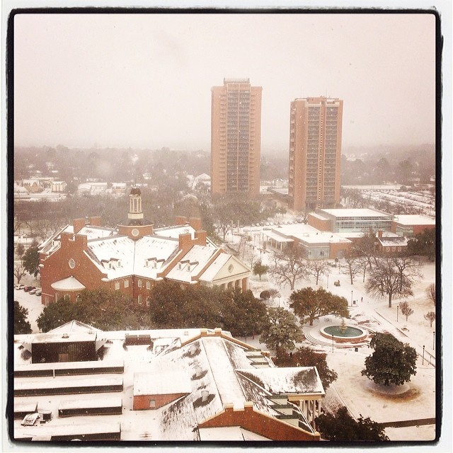 The view of last Thursday's beautiful snowfall from TWU. Photo by  @drcruz32