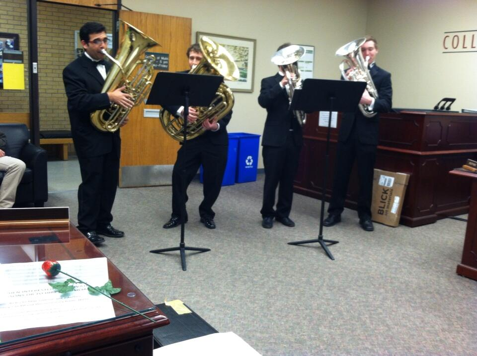 """Photo by  UNT College of Music . Tuba valentines. may be our favorite way to say """"I love you' to that special someone with large brass."""