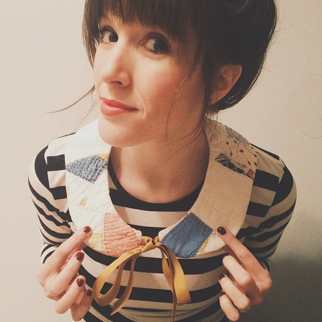 Madeline Wood is now at the Dime Store and they make this cool, vintage quilt collar. Photo by  @jadewintersee.