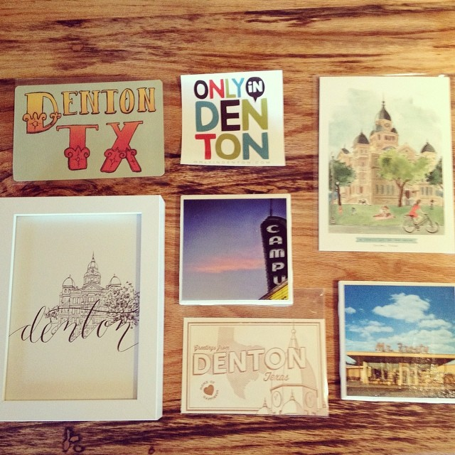 The DIME Store has your fix of Denton-related art. We're partial to the coasters, but once again; major bias.