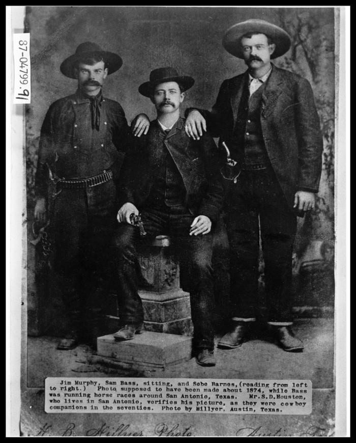 From left: 'Judas' Jim Murphy, Sam Bass, and Seaborn Barnes.