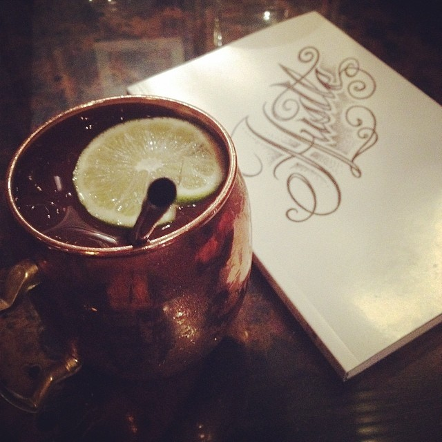 @clcraggett  ended the day with a Moscow Mule and a little live poetry at the Kraken reading series.