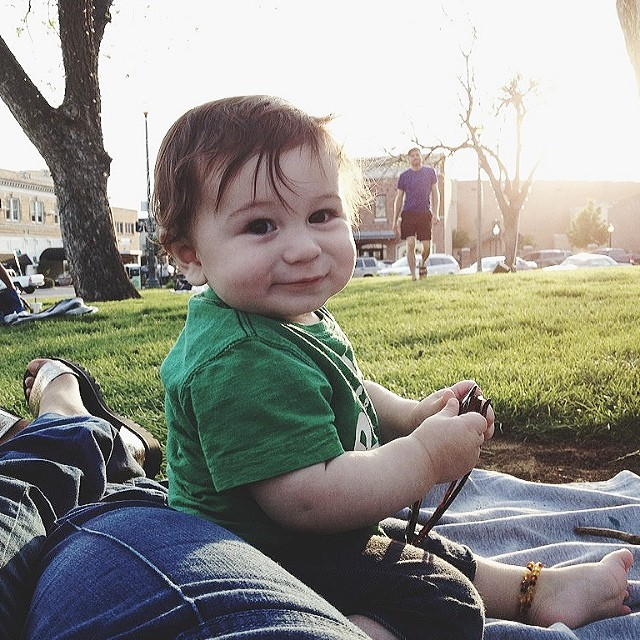 @thelovelyhunter  deemed her day on the square a pretty perfect one with this little guy in tow!