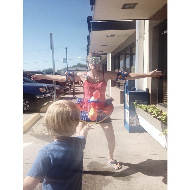 Royal's helped raise money for Denton's future splash park by donating 10% of their sales on Saturday to the cause. Escaped mental hospital patients decked out in swim gear hung out outside and let children throw water balloons at them.