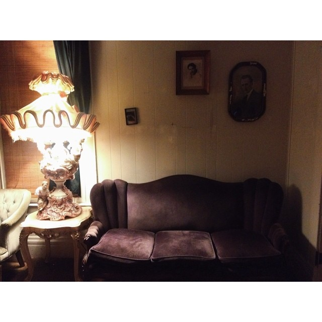 @christianblues  thinks this couch in Oak St. Drafthouse is haunted. We're not ones to believe in ghosts much, but he may be on to something.