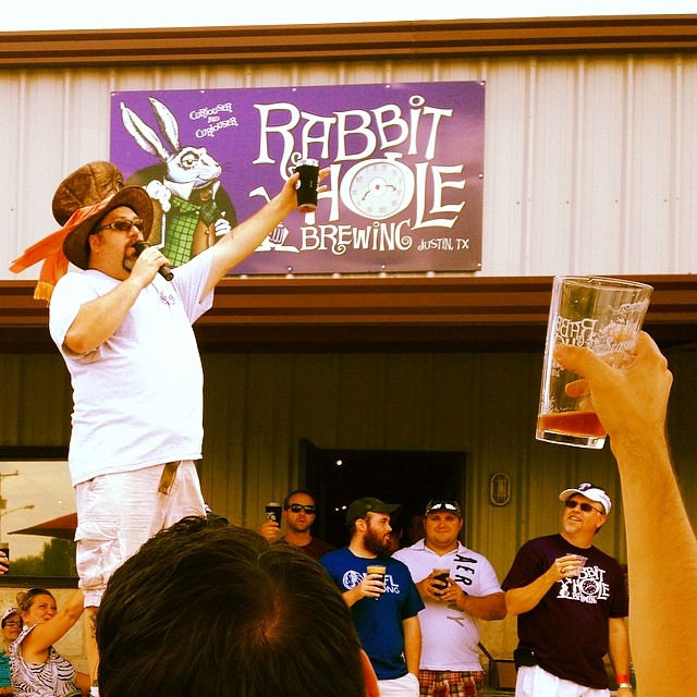 A toast from Rabbit Hole Brewing.