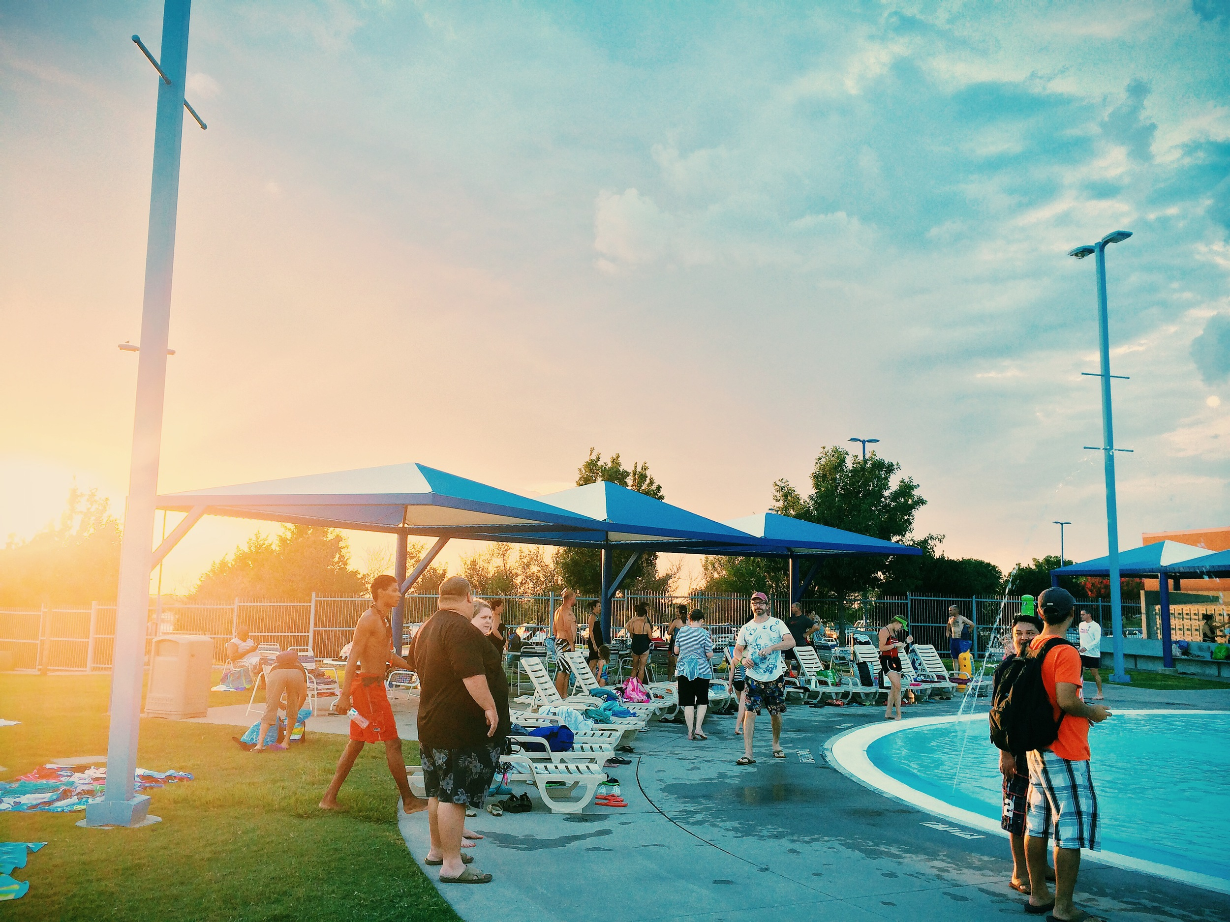 The City of Denton Public Library's Reading Program celebrated the end of the summer with a free night at Waterworks Park with the folks who made it through all thirty days worth of reading (we actually read for more). It was a crowded night at the water park.