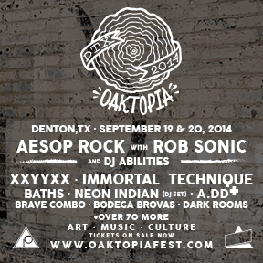 A Denton music festival featuring Aesop Rock, Neon Indian, Baths and more. September 19th - 20th.