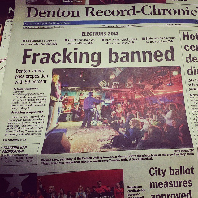 Front page news. Newsworthy even outside of Denton. Click the photo to be led back to the photographer's Instagram account.
