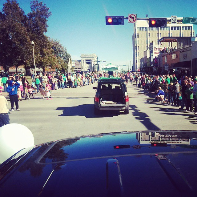 This is either the first hand view of a parade or something bad is about to happen.