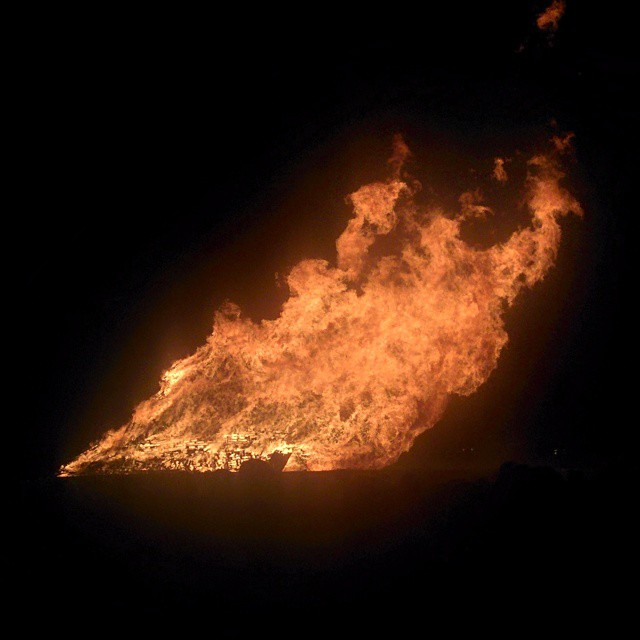 Friday night's pre-homecoming game bonfire.