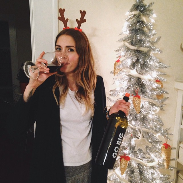 You know things are going well when your bottle of wine has about as much volume as your Christmas tree. Also, is it Christmas already?