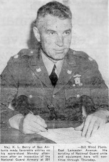 General K.L. Berry, born and raised in Denton TX, was a UT athlete and survived the infamous Bataan Death March, spending the remainder of the war (forty months) as a prisoner of war to then become a highly decorated veteran and honoree of the Texas Military Force Museum.