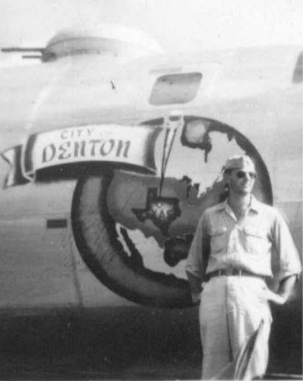 """This All-American badass is Col. Carl Storrie (maybe related to Bob Storrie of Travelstead?) in front of his B-29 Superfortress """"The City of Denton,"""" possibly of the 314th Bombardment Wing , 20th Air Force during WWII. Photo and backstory sleuthing by Mike Cochran."""