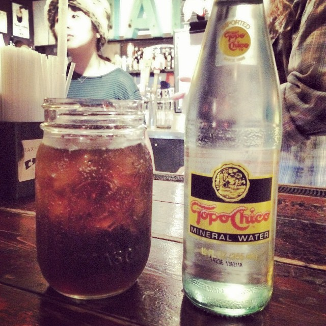 Dr. Pepper and Topo Chico.