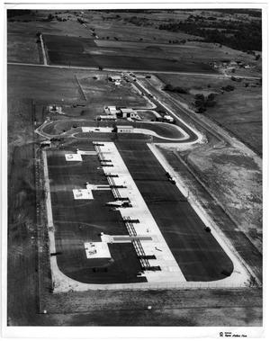 """1964 aerial view of Denton's Nike Missile Base, photo courtesy of the Denton Public Library and the stuff of """"duck-and-cover"""" nuclear nightmares. Photo from  The Portal to Texas History."""