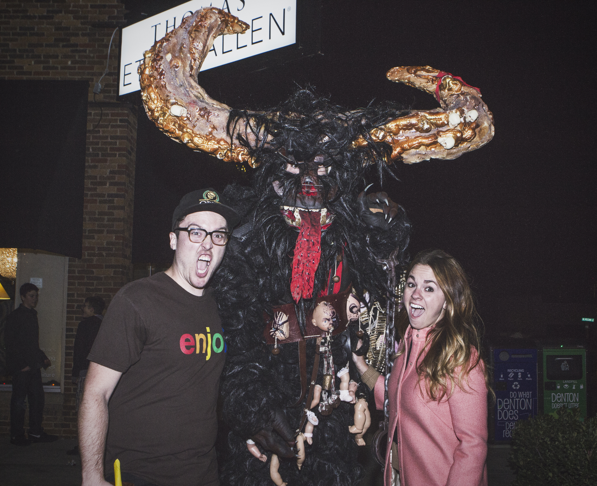 After making a later appearance than previously planned,Krampus was sadly asked to leave the square (or relocate a few blocks away) on Friday evening, but not before giving away all of his presents and eating at least a dozen children. Next year, he hopes to have a permit and spend some more time in Denton before flying out to towns with worse children (such as Phoenix).