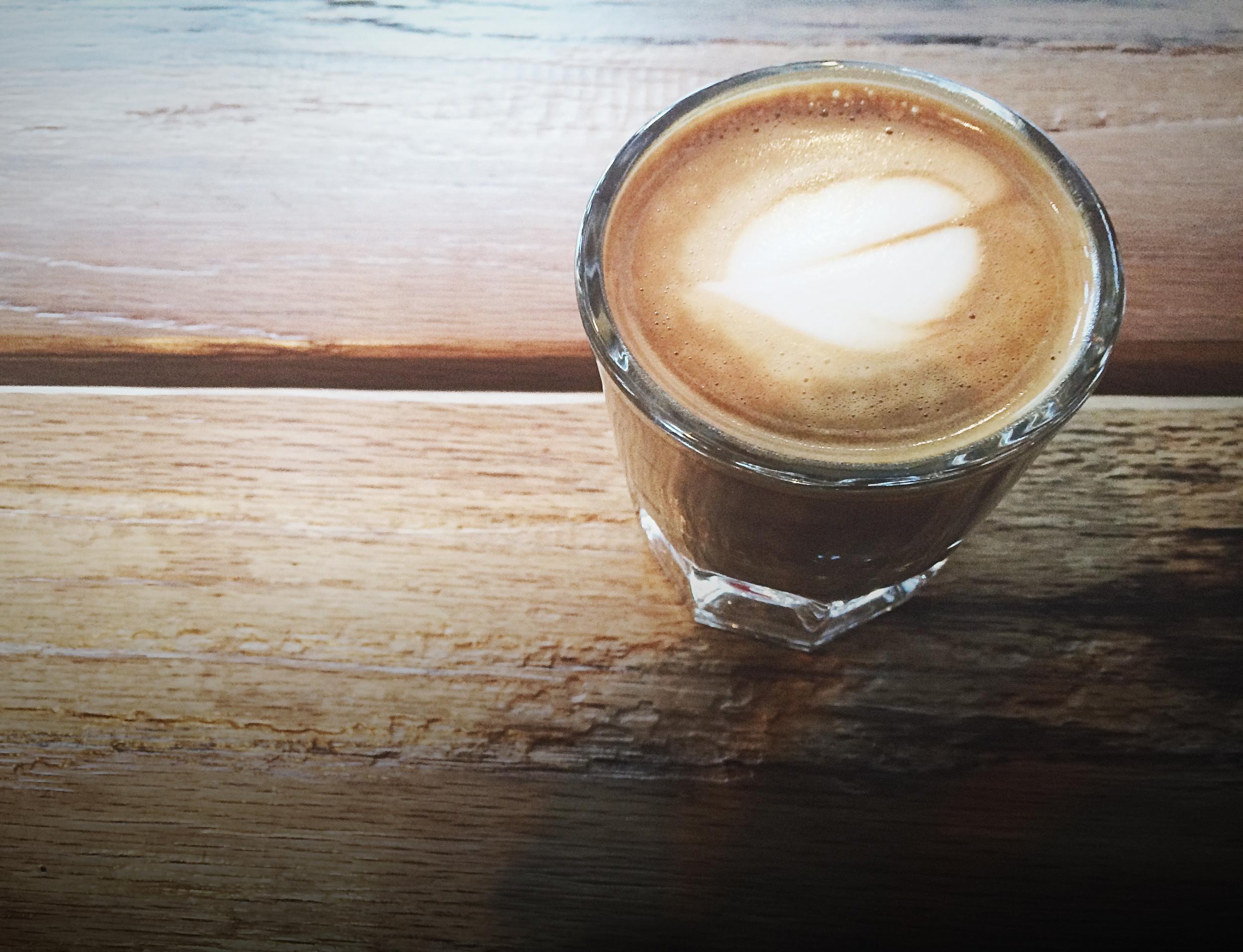A cortado at West Oak Coffee Bar.