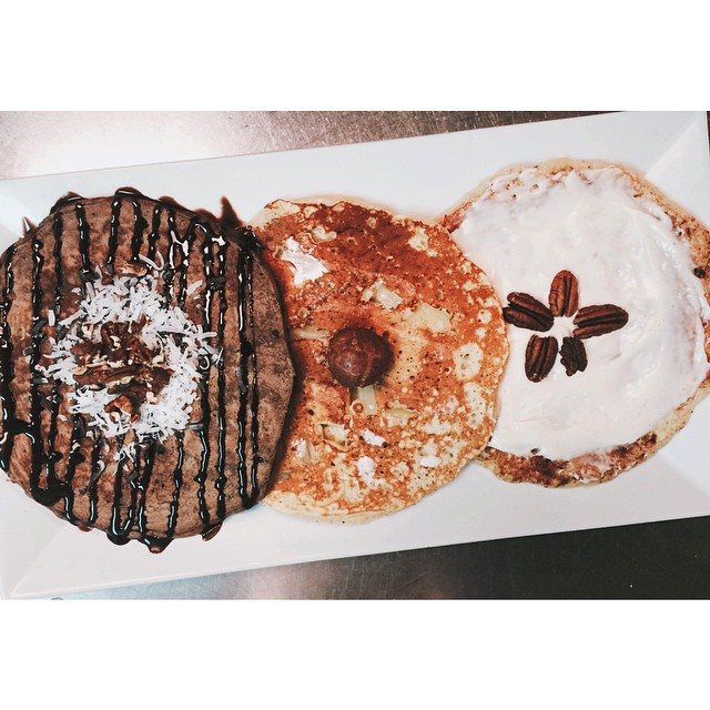 Seven Mile Cafe's pancake sampler has us drooling right now.