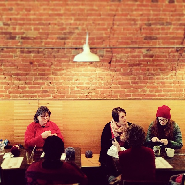West Oak Coffee Bar is as good a place as any for a knitting club meeting, right? Photo by @GaryPayne.